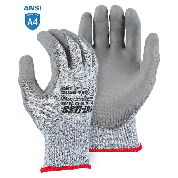 Majestic 37-1505 Dyneema Cut-Less Diamond Cut-resistant Glove with Polyurethane Palm Coating