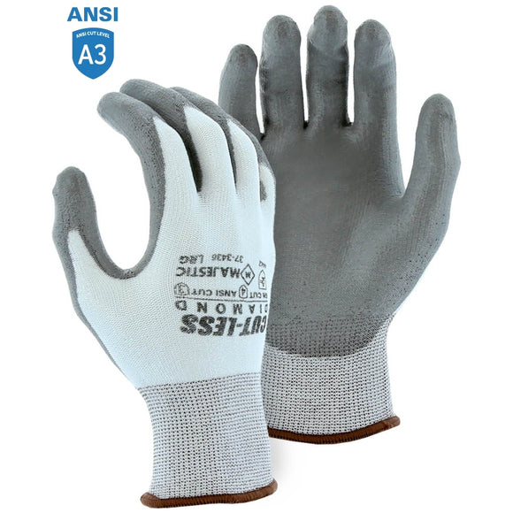 Majestic 37-3436 Dyneema Diamond Cut Resistant Glove with Polyurethane Palm Coating