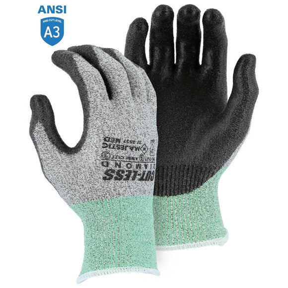 Majestic 37-3537 Dyneema Cut-Less Diamond Cut Resistant Glove with Polyurethane Palm Coating