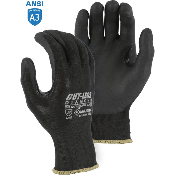 Majestic 37-3565 Black Cut-less Dyneema Diamond Glove with Foam Nitrile Palm Coating