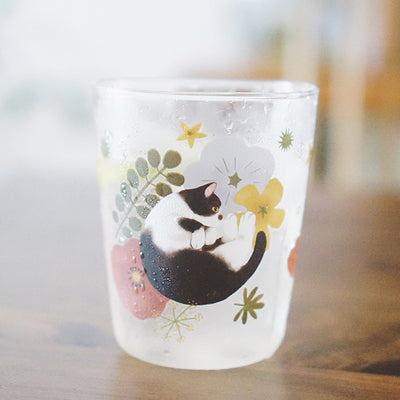 Handmade Borosilicate Glass Cute Cat Transparent Glass Juice Milk Cup Water Cup with Funny Illustrations