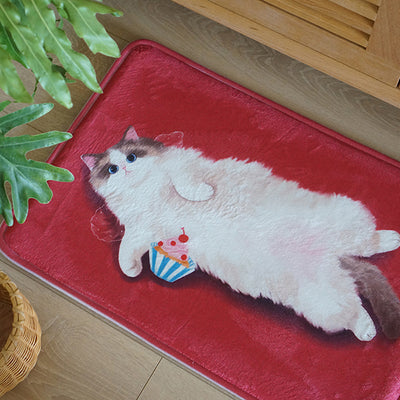 Deep Red Flannel Original Cute Cat Room Door Bathroom Carpet Ragdoll Floor Mats