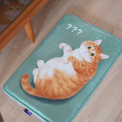 Flannel Original Cute Cat Room Door Bathroom Carpet Orange Tabby Floor Mats with Question Mark