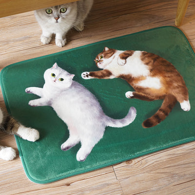 Ultra-soft Flannel Original Cute Cat Room Door Bathroom Carpet Anti-slip Floor Mats