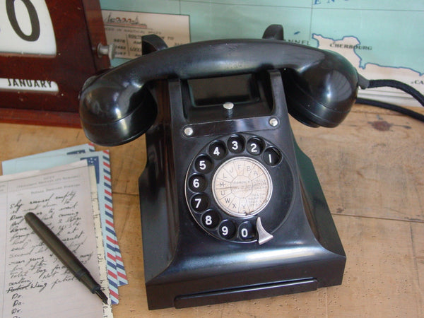 Telephone , Working 1950's  Bakelite with Black Dial Face