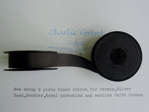 New Plain Black Group 9 Typewriter Ribbon for Brother , Hermes ,Silver Reed, Royal, Earlier Underwoods and Smith Corona's