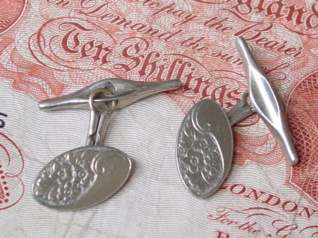 Vintage oval floral cuff links