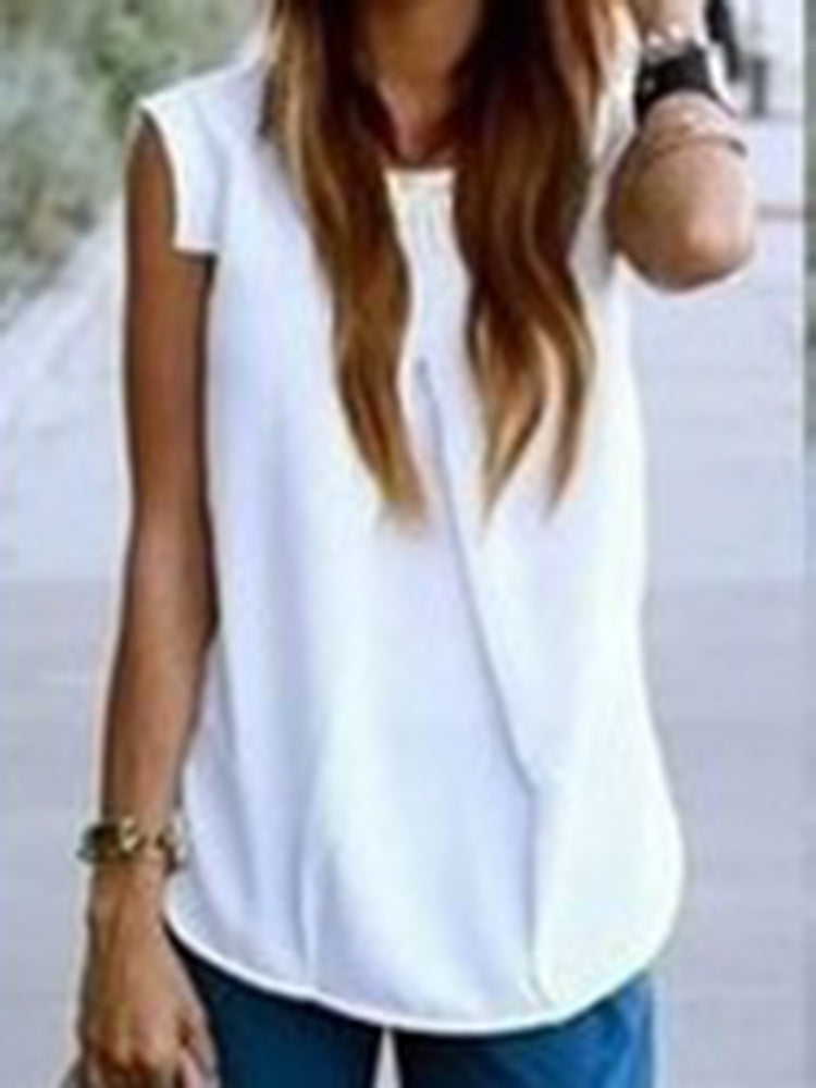 Crew Neck Gathered Summer Resort Beach Tanks Camis