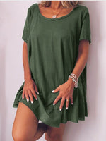 Plus Size Casual Solid  Round Neck Short Sleeve Dresses