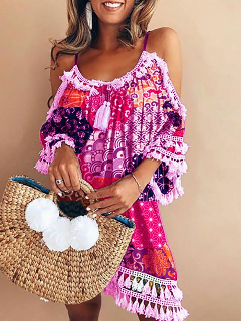 Geometric Crew Neck Boho 3/4 Sleeve Dresses