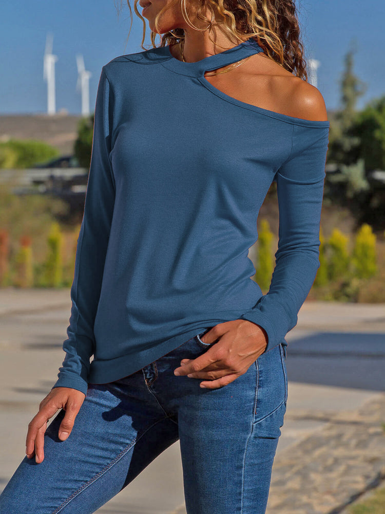 Halter Sexy Cut Out Solid Shirt