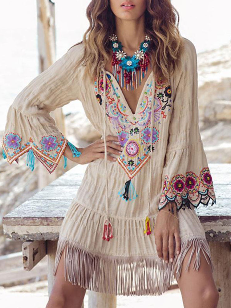 Boho Summer Shift Long Sleeve Casual Dresses
