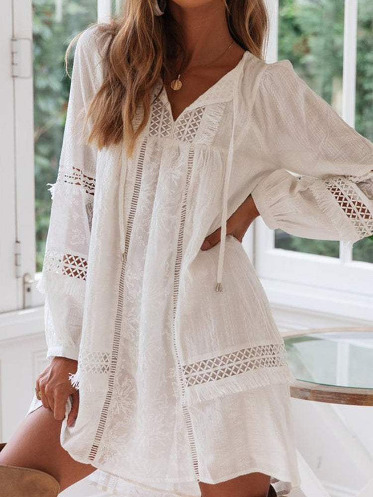 V Neck Long Balloon Style Sleeves Boho Dress