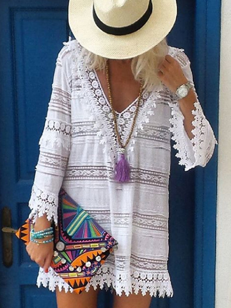 Beach Summer V Neck Lace Dresses
