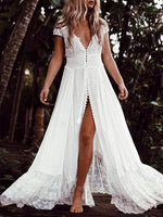 White V Neck Patchwork Short Sleeve Cutout Maxi Dresses