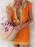 Orange Short Sleeve Solid Dresses