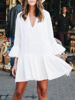 Sweet 3/4 Sleeve Solid Dresses
