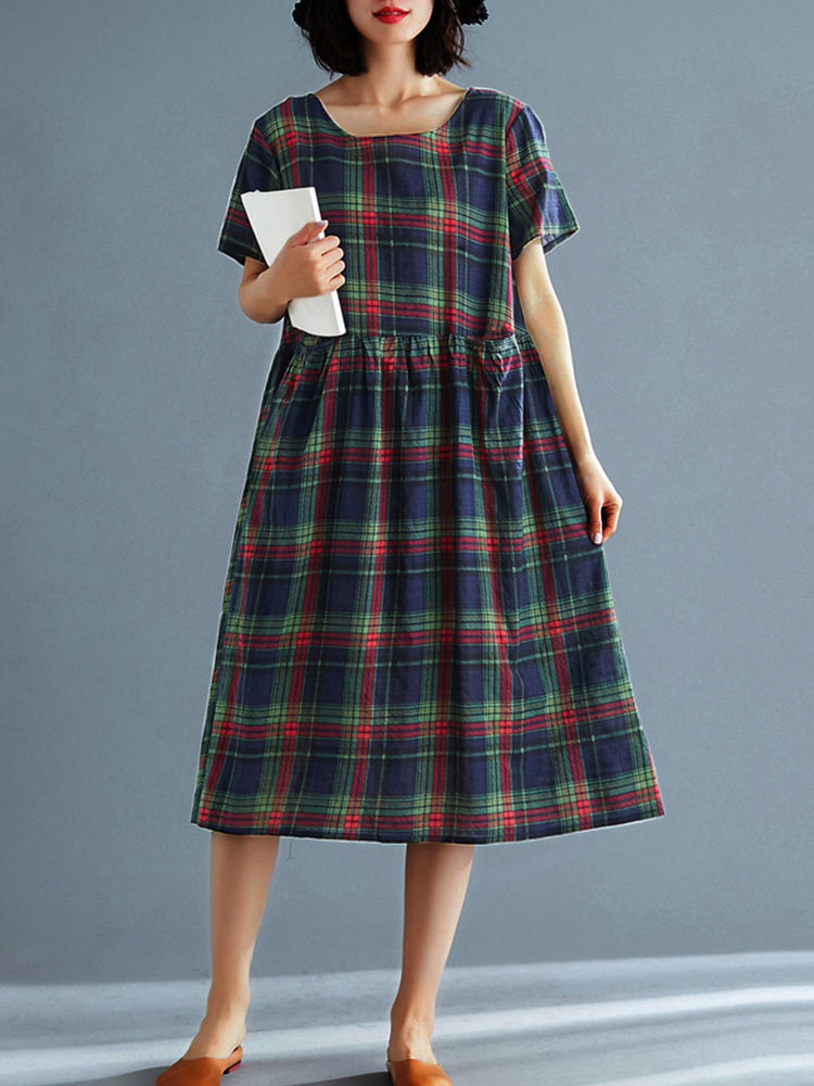 Women Literary Large Size Loose Plaid  Long Casual  Dress