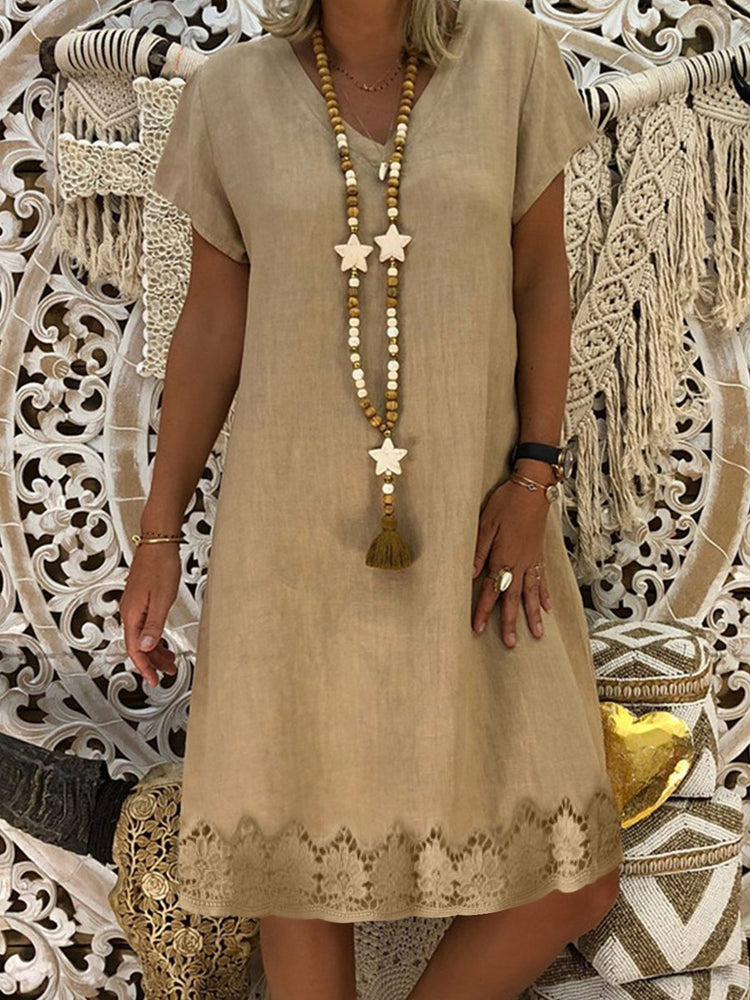 V Neck Women Dresses Shift Holiday Crochet-Trimmed Dresses