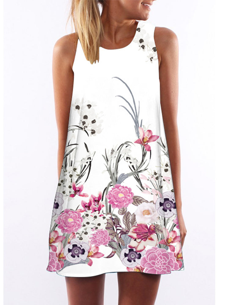 White Floral Sleeveless Casual Mini Dress