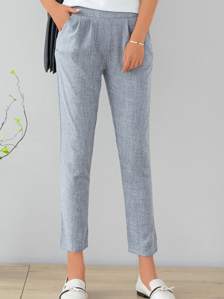 Women Loose Linen  Casual  Solid  Feet Pants