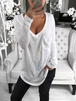 Long Sleeve Casual V Neck Cotton-Blend Tops