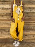 Yellow Printed Cotton/LINE Wide Leg Jumpsuit