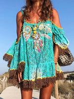 Off Shoulder Boho Printed Tassel Shift Dresses