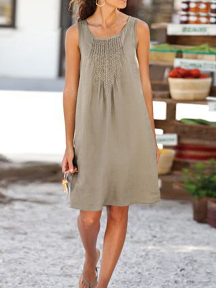 Casual Linen Sleeveless U-Neck Dresses