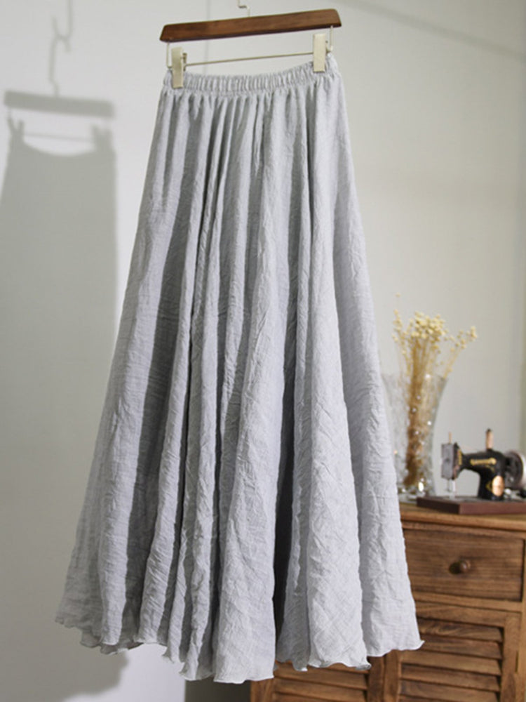 9Colors  Cotton&Linen Casual Solid Swing Skirts