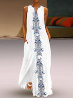 White Women Sleeveless Maxi Dresses