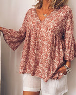 Casual V-neck Long Sleeve Plus Size Blouse