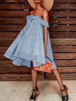 Off Shoulder Sexy Stripes Pattern Loose Casual Dresses
