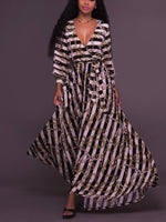 Stripe Chain Printing Pendulum Long Sleeve Dress