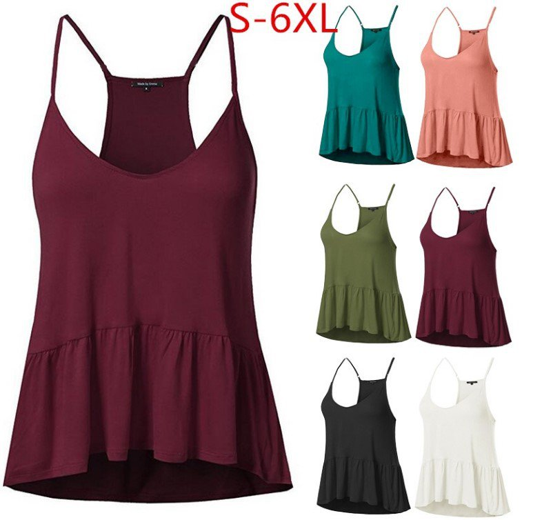 Plus Size Women Casual Solid Sling Tops