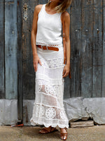 Lace U Neck Sleeveless Daytime Maxi Dresses