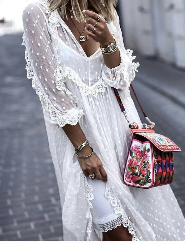 White Solid Guipure Lace 3/4 Sleeve Boho Dresses