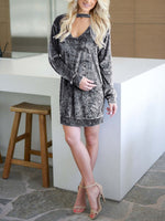 V Neck Solid Plain Long Sleeve Casual Dress