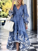 Women Holiday Balloon Sleeve Buttoned Floral Dresses
