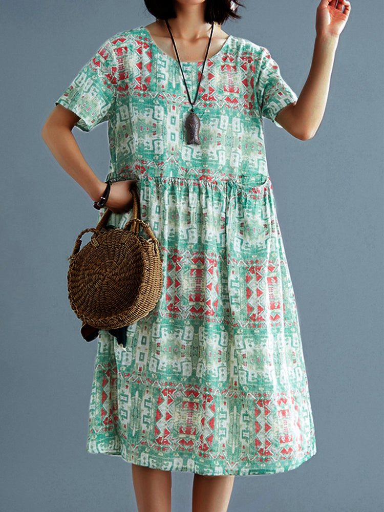 Women Literary Large Size Cotton And Linen  Floral  Long Dress