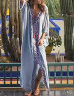 V Neck Casual Women Boho Maxi Dress