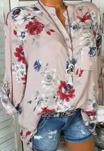 Casual Floral Long Sleeve Cotton Tops