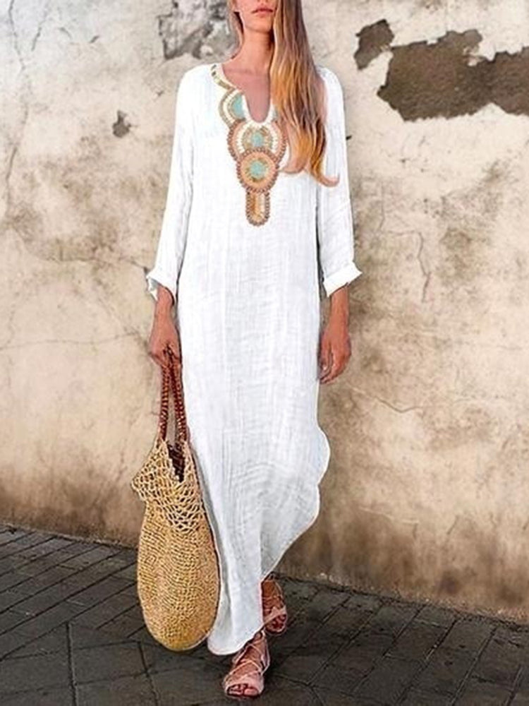 Boho V Neck Long Sleeve Maxi Dresses