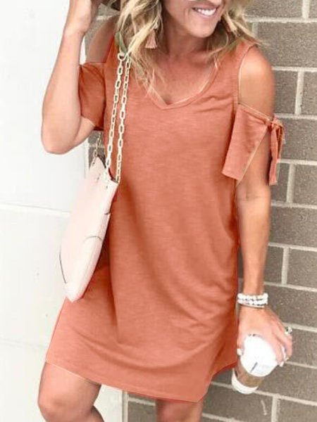 Paneled V Neck Off Shoulder Casual Dress