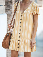Yellow Stripe V Neck Lotus Dresses
