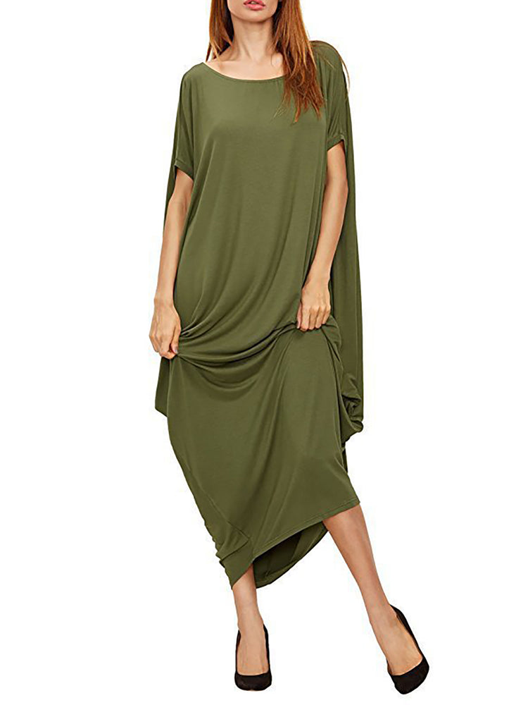 Solid Cocoon Short Sleeve Crew Neck Casual Dress