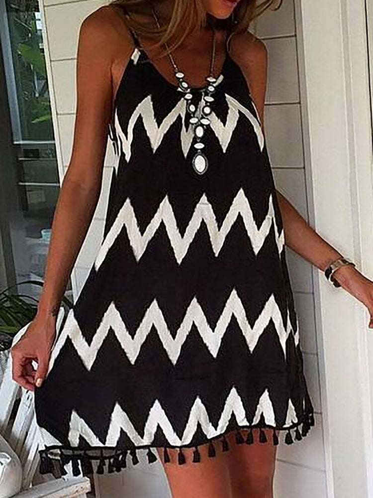 Black  Women Daily Spaghetti Chiffon Paneled Summer Dress