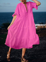 Plus Size Women Frill Sleeves Big Swing Elegant Dresses