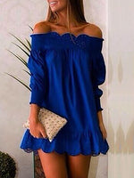 Off Shoulder Blue Women Fall Dresses Date Cotton Dresses