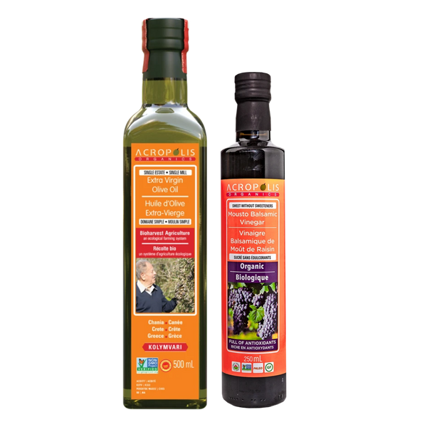 Acropolis Organics Bioharvest Extra Virgin Olive Oil 500 mL and Mousto Balsamic Vinegar 250 mL Bundle | FarmOrganica
